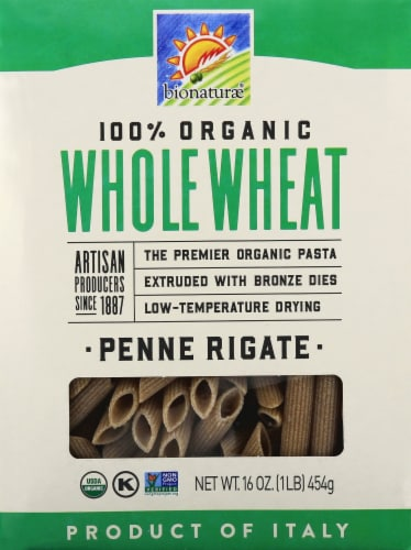 Bionaturae Organic Whole Wheat Penne Rigate Perspective: front