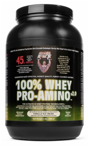 Healthy N Fit Vanilla Ice Cream Whey Amino Supplement Perspective: front