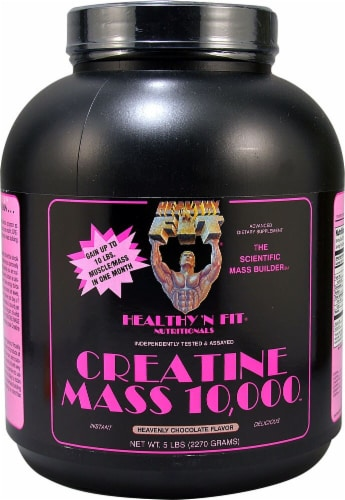 Healthy N Fit Heavenly Chocolate Flavor Creatine Mass 10000 Protein Powder Perspective: front