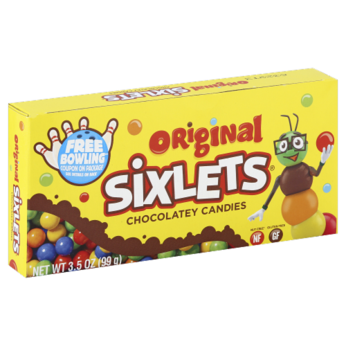 Sixlets Theater Box Candy Perspective: front