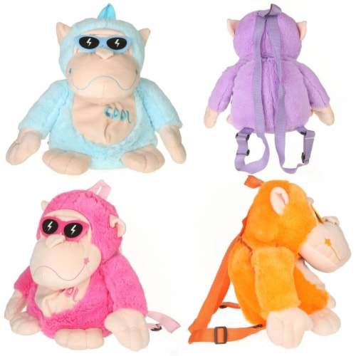 Giftable World AG110003 11 in. Monkey with Sunglasses Backpack - 4 Assorted Color Perspective: front