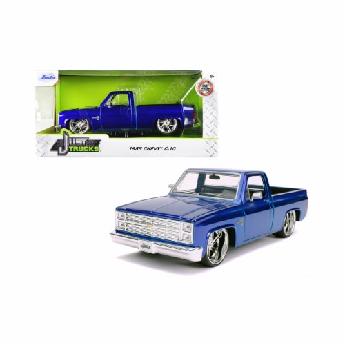 Jada 30287-1 1985 Chevrolet Silverado C-10 Pickup Truck Candy Blue Just Trucks 1 by 24 Diecas Perspective: front