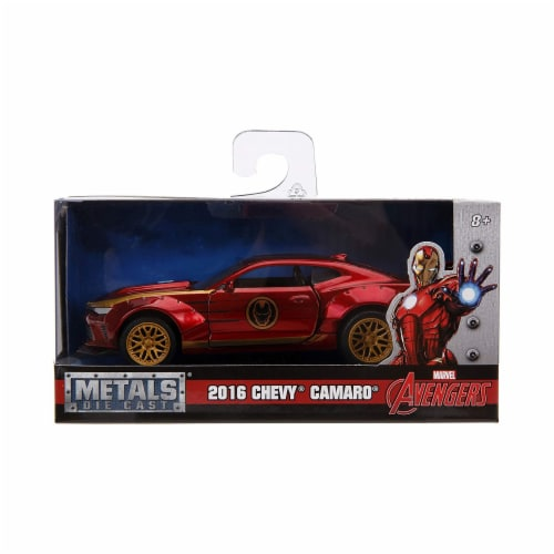 Jada 30298 2016 Chevrolet Camaro Iron Man Theme Marvel Series 1-32 Diecast Model Car Perspective: front