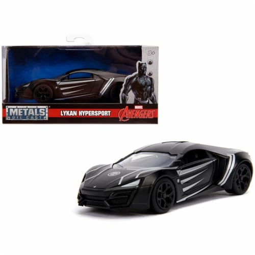 Jada 30302 Lykan Hypersport Black Panther Theme Marvel Series 1-32 Diecast Model Car Perspective: front