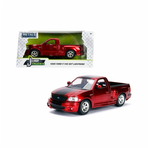 Jada 30357 1999 Ford F-150 SVT Lightning Pickup Truck Candy Red with Black Stripes Just Truck Perspective: front