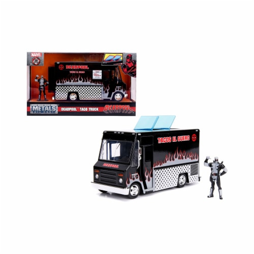 Jada 30540 Deadpool Taco Truck with Deadpool Diecast Figure Marvel Series Diecast Model, Blac Perspective: front