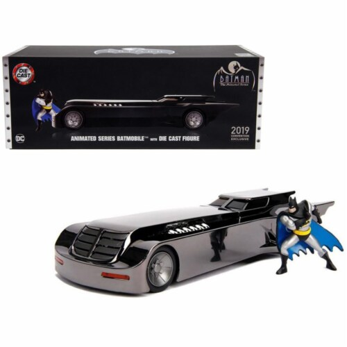 Jada 30700 Chrome Batmobile with Batman Diecast Figurine Animated Series DC Comics 2019 San D Perspective: front