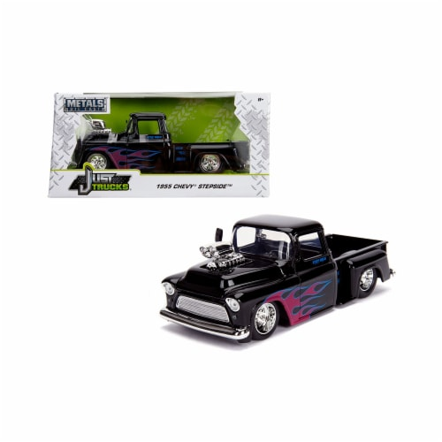 Jada 30714 1955 Chevrolet Stepside Pickup Truck with Blower Glossy Black with Flames Just Tru Perspective: front