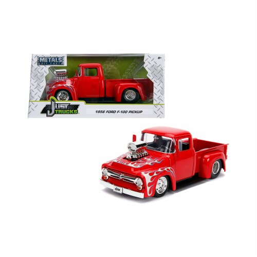 Jada 30715 1956 Ford F-100 Pickup Truck with Blower Glossy Red with Flames Just Trucks Series Perspective: front