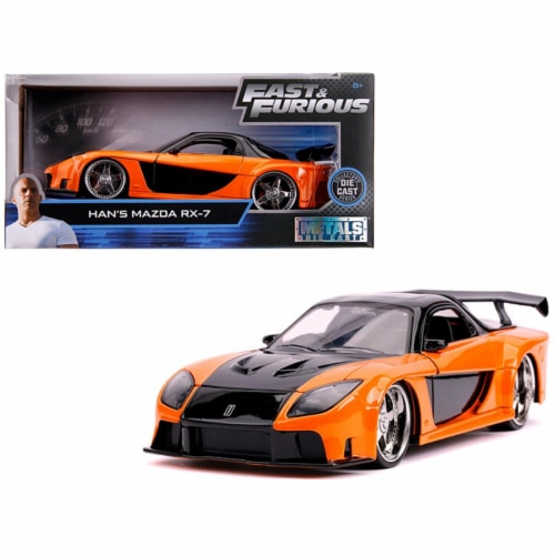 Jada 30732 Hans Mazda RX-7 Orange & Black Fast & Furious Movie 1 by 24 Diecast Model Car Perspective: front