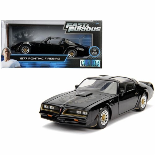 Jada 30756 Tegos 1977 Pontiac Firebird Fast & Furious Movie 1 by 24 Diecast Model Car, Black Perspective: front