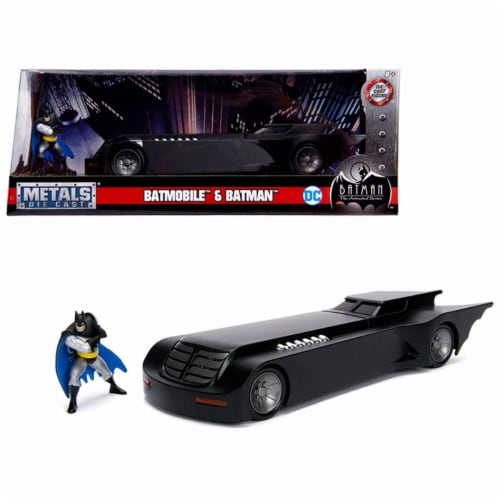 Jada 30916 Batmobile with Batman Diecast Figure Animated DC Comics Series 1-24 Diecast Model Perspective: front