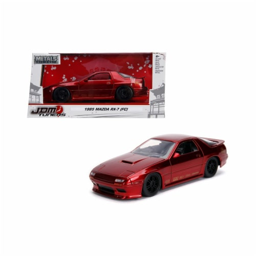 Jada 30941 1985 Mazda RX-7 FC Red with Black Wheels JDM Tuners 1-24 Diecast Model Car Perspective: front