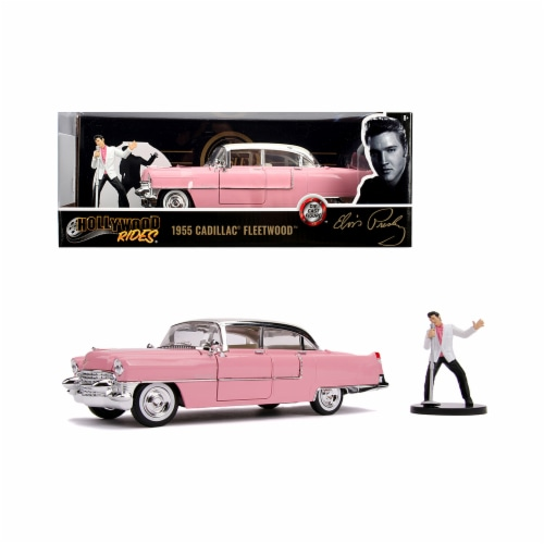 Jada 31007 1955 Cadillac Fleetwood Series 60 Pink with Elvis Presley Diecast Figurine 1-24 Di Perspective: front