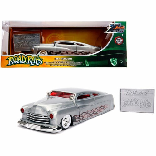 Jada 31080 1951 Mercury Raw Metal with Flames Road Rats Jada 20th Anniversary 1-24 Diecast Mo Perspective: front