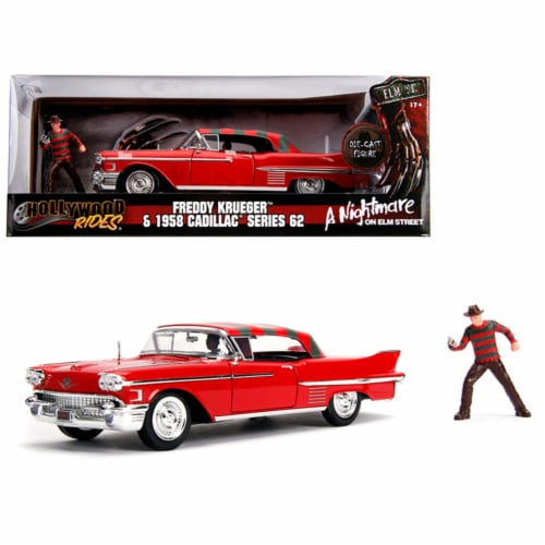 Jada JA31102 1958 Cadillac Series 62 Red with Freddy Krueger Diecast Figure A Nightmare on El Perspective: front