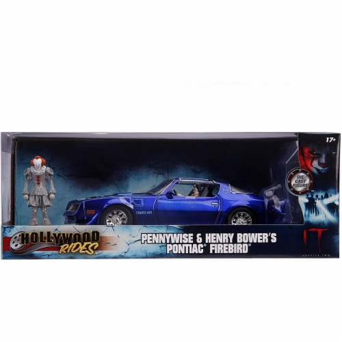 Jada 31118 Henry Bowers Pontiac Firebird Trans Am Candy Blue with Pennywise Diecast Figurine Perspective: front