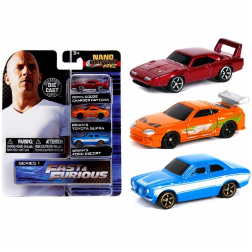 Jada Toys Nano Hollywood Rides Series 1 Fast And Furious 3 Pack Set Perspective: front