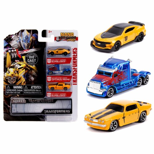 Jada Toys Nano Hollywood Rides Series 1 Transformers 3 Pack Set Perspective: front