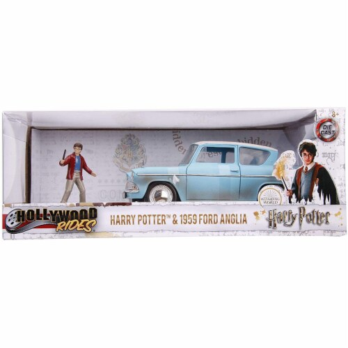 Jada 31127 1959 Ford Anglia Light Blue Weathered with Harry Potter Diecast Figurine 1-24 Diec Perspective: front