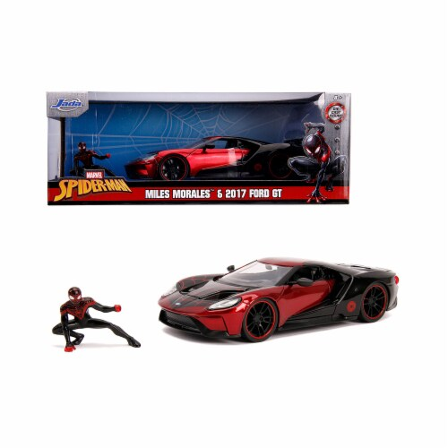 Jada 31190 2017 Ford GT with Miles Morales Diecast Figurine Spider Man Marvel Series 1 by 24 Perspective: front