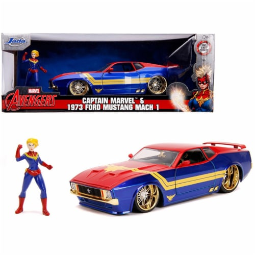 Jada 31193 1973 Ford Mustang Mach 1 with Captain Marvel Diecast Figurine Avengers Marvel Seri Perspective: front