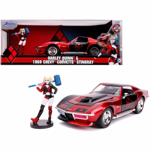Jada JA31196 1969 Chevrolet Corvette Stingray with Harley Quinn Diecast Figure DC Comics Seri Perspective: front