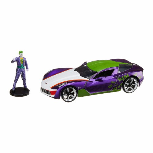 Jada 31199 2009 Chevrolet Corvette Stingray with Joker Diecast Figure DC Comics Series 1 by 2 Perspective: front