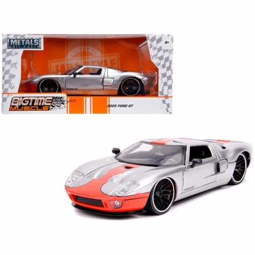 Jada 31324 2005 Ford GT Stripe Bigtime Muscle 1 by 24 Diecast Model Car, Silver & Orange Perspective: front