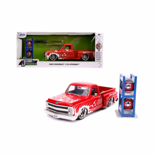 Jada 31397 1969 Chevrolet C10 Stepside Pickup Truck Red with White Flames with Extra Wheels J Perspective: front