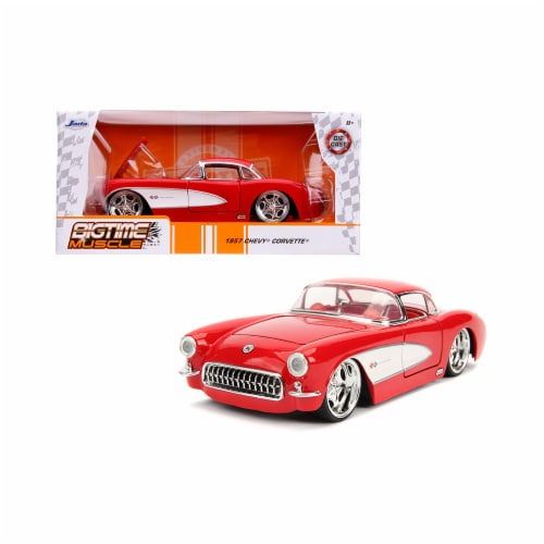 Jada 31451 1957 Chevrolet Corvette Interior Bigtime Muscle 1 by 24 Diecast Model Car, Red Perspective: front
