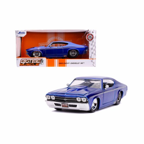 Jada 31455 1969 Chevrolet Chevelle SS Candy Blue with Silver Stripes Bigtime Muscle 1 by 24 D Perspective: front