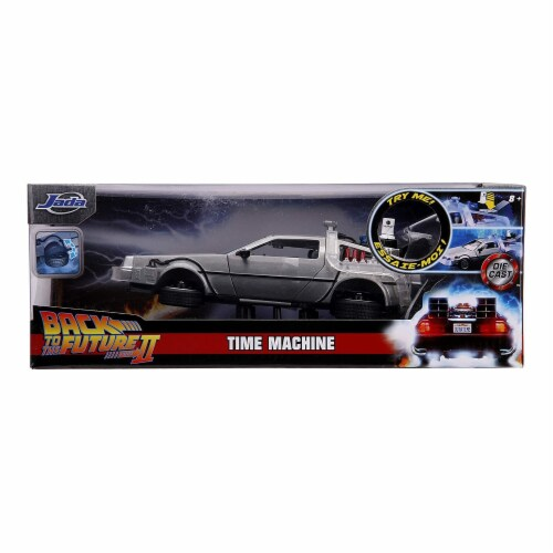 Jada 31468 DeLorean Brushed Metal Time Machine with Lights Flying Version Back to the Future Perspective: front