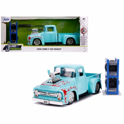 Jada 31542 1956 Ford F-100 Pickup Truck Turquoise with Red Flames with Extra Wheels Just Truc Perspective: front