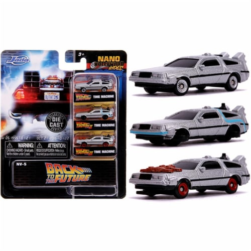 Jada 31583 Back to the Future Time Machine Set Nano Hollywood Rides Diecast Model Cars - 3 Pi Perspective: front