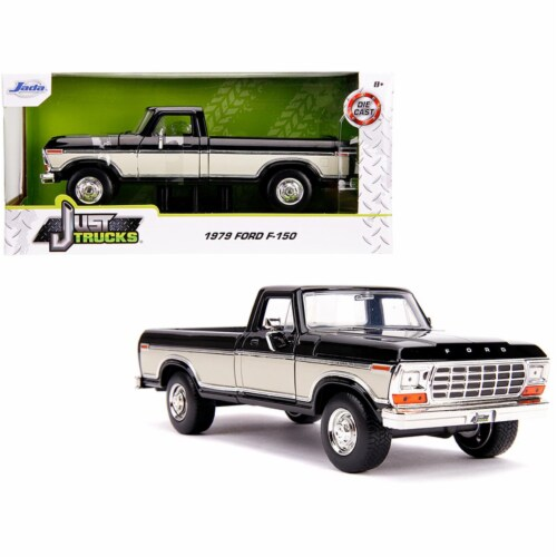 Jada 31585 1979 Ford F-150 Pickup Truck Stock Black & Cream Just Trucks 1 by 24 Diecast Model Perspective: front