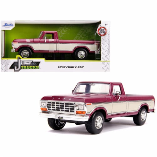 Jada 31586 1979 Ford F-150 Pickup Truck Stock Plum Metallic & Cream Just Trucks 1 by 24 Dieca Perspective: front