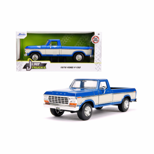 Jada 31587 1979 Ford F-150 Pickup Truck Stock Candy Blue Metallic & Cream Just Trucks 1 by 24 Perspective: front