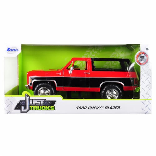 Jada 31593-MJ 1980 Chevrolet Blazer K5 Red & Black Just Trucks 1 by 24 Diecast Model Car Perspective: front