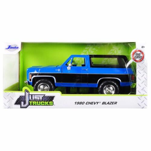 Jada 31598-MJ 1980 Chevrolet Blazer K5 Blue & Black Just Trucks 1 by 24 Diecast Model Car Perspective: front