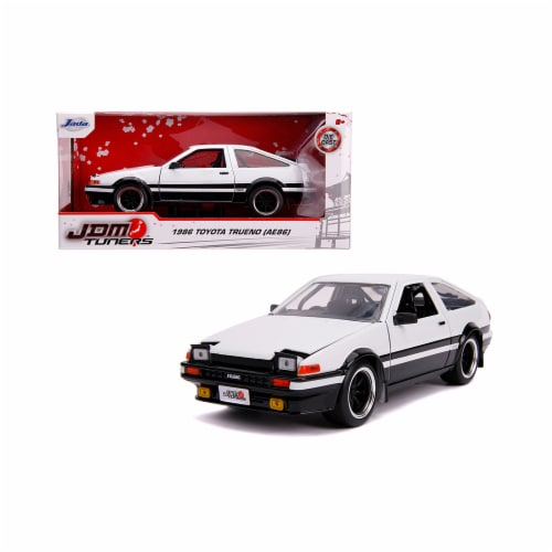 Jada 31602 1986 Toyota Trueno AE86 RHD Right Hand Drive White & Black JDM Tuners 1 by 24 Diec Perspective: front