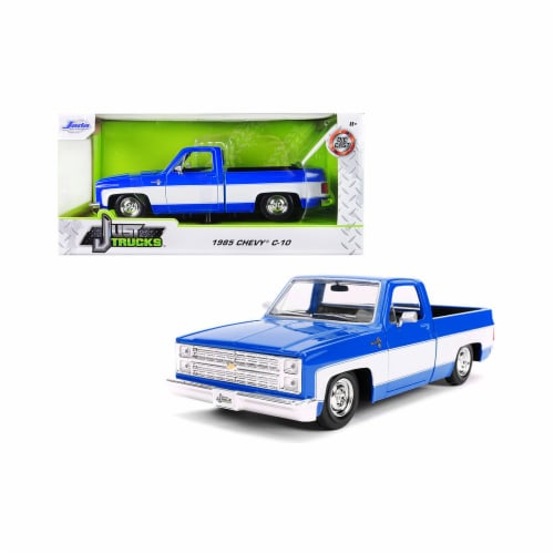 Jada 31606-SW 1985 Chevrolet Silverado C-10 Pickup Truck Stock Wheels Blue & White Just Truck Perspective: front