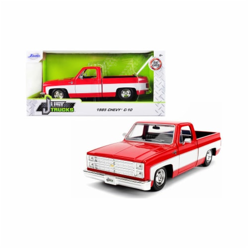 Jada 31608-SW 1985 Chevrolet Silverado C-10 Pickup Truck Stock Wheels Red & White Just Trucks Perspective: front