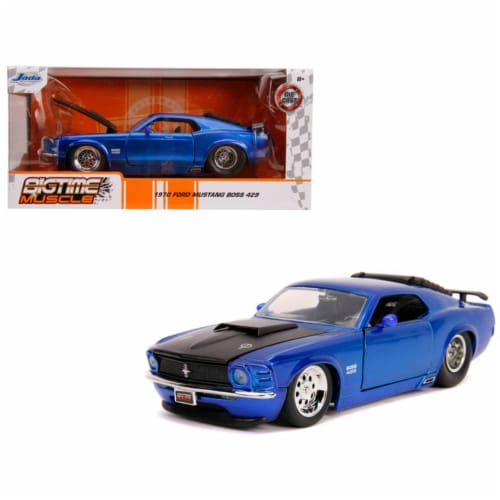 Jada 31647 1970 Ford Mustang Boss 429 Candy Blue with Black Hood Bigtime Muscle 1 by 24 Dieca Perspective: front