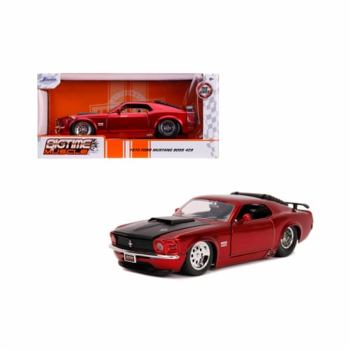 Jada 31648 1970 Ford Mustang Boss 429 Candy Red with Black Hood Bigtime Muscle 1 by 24 Diecas Perspective: front