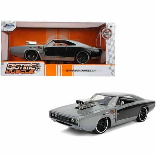Jada 31668 1970 Dodge Charger R & T with Blower Gray Metallic & Black Bigtime Muscle 1-24 Die Perspective: front
