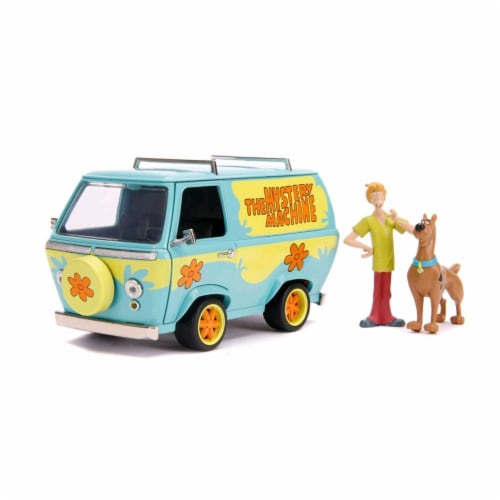 Jada 31720 The Mystery Machine with Shaggy & Scooby-Doo Figurines 1-24 Diecast Model Car Perspective: front