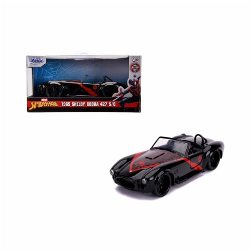 Jada 31743 1965 Shelby Cobra 427 S & C Black Spider Man Marvel Series 1-32 Diecast Model Car Perspective: front