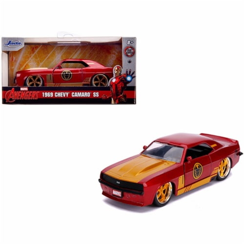 Jada 31744 1969 Chevrolet Camaro SS Red Metallic & Gold Iron Man Avengers Marvel Series 1-32 Perspective: front