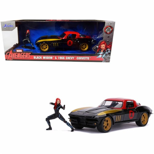 Jada 31749 1966 Chevrolet Corvette with Black Widow Diecast Figurine Avengers Marvel Series 1 Perspective: front
